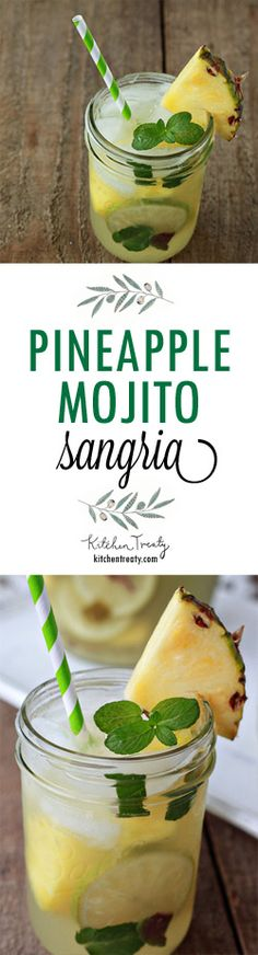 Pineapple Mojito Sangria - Boozy pineapple chunks mingle with muddled ...