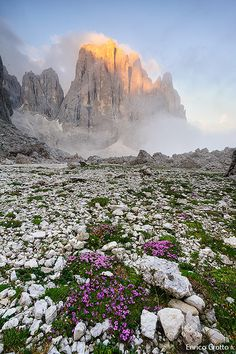 First Light in the Dolomites - The Dolomites are a mountain range located in north-eastern Italy.