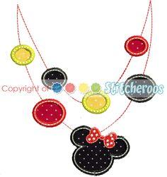 Minnie necklace applique embroidery design.