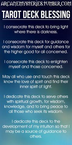 Tarot Tips http://arcanemysteries.tumblr.com/  Tarot Deck Blessing.