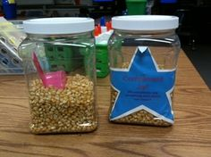 Compliment Jar:      I believe giving and receiving compliments is important in building our self-confidence and encouraging us to feel successful.  In order to value the importance of compliments, we have a Compliment Jar.  Whenever, our class receives a specific compliment from another adult in the school, we get a scoop of popcorn kernels that we add to our jar.  Our goal is to get tons of compliments around the building, earning scoops to fill our jar. When our jar is full, we get a…