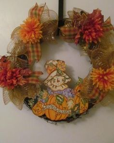 "Fall ""Autumn Welcome"" Deco Mesh Grapevine Wreath - Handmade by doris2618 for $35.00"