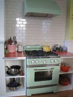 Mint green retro stove
