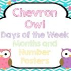 Owl and chevron days of the week, months, and number (1-20) posters.
