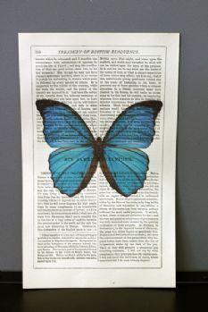Antique Book Paper Prints - Blue Butterfly - Unframed