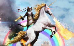 Cat Riding a Fire-breathing Unicorn wallpaper