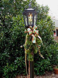 Decorating everything for Christmas... including lampposts.