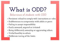 Oppositional Defiant Disorder: strategies for the classroom