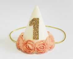 Baby Girl First Second Birthday Party Cone Hat by PetiteFetti