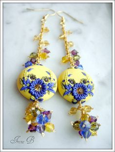 Sunshine Dangle polymer clay earrings by evagirl12 on Etsy, $60.00