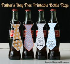 DIY Quick Easy Father's Day Gift -Free Printables Necktie Bottle Tags - Works for soda bottles or beer bottles