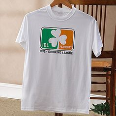 So cute!!! I want these to wear on St. Patrick's Day! Irish Drinking League Personalized Apparel