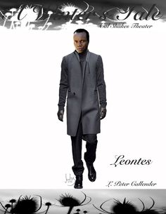 Katherine Nowacki's costume sketch of Leontes in A Winter's Tale. Actor: L. Peter Callender.