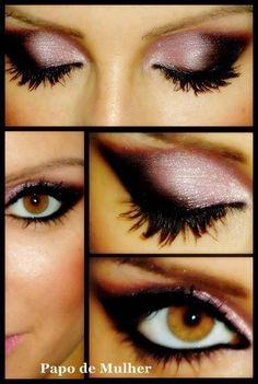 pink smokey eyes.