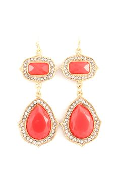 Coral Teardrop Earrings
