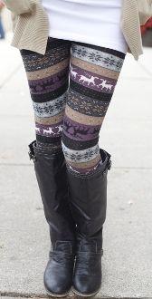 Purple Reindeer Knit Leggings $12.99!!
