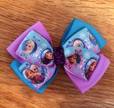 Frozen Hair Bow - Elsa bow - Anna Bow by MimisBowsandMore on Etsy https://www.etsy.com/listing/204117368/frozen-hair-bow-elsa-bow-anna-bow