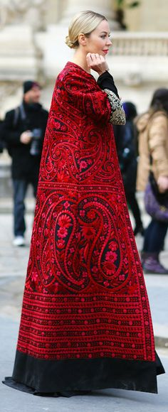Ulyana Sergeenko in red and black embroidered maxi coat