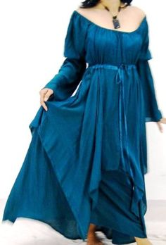 Amazon.com: TEAL DRESS PEASANT LAYER RENAISSANCE - FITS (ONE SIZE) - L XL 1X 2X - A219 LOTUSTRADERS: Clothing