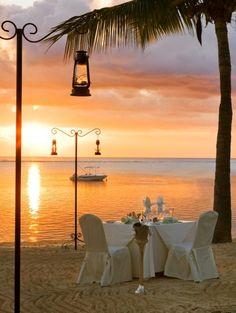 Dinner at the beach, Mauritius