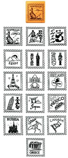 International Rubber Stamps. Use these to stamp your passports! See them all on MakingFriends.com