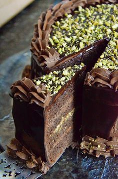 Chocolate and Pistachio Layer Cake