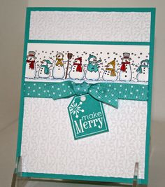 Christmas Holiday Greeting Cards X4 Completed LOT KIT Stampin UP Snowman FUN   eBay