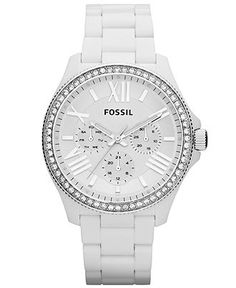 Fossil Watch, Womens Cecile White Acetate Bracelet 40mm AM4494 - - Macys