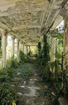 Abandoned railway station in Abkhazia, Georgia.