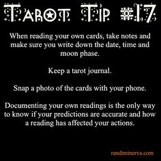 Tarot Tip #17: Tarot Journal/ Yup! I'm doing it but it's still not that frequent and I did not take down moon phase :(