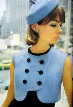 Hat and cute outfit from the 60's worn by Jean Shrimpton