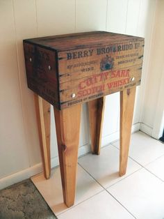 Vintage wood Advertising Box table.