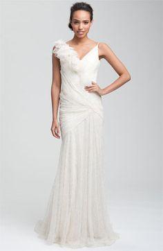 Carmen Marc Valvo Drape Bodice Tulle Gown