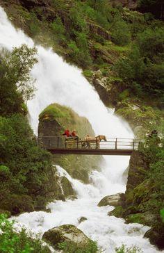 Waterfall in Olden , Norway