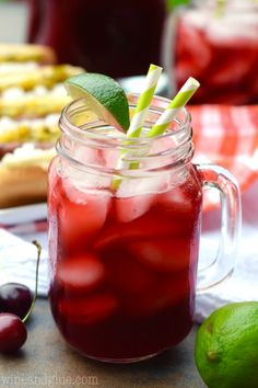 This Cherry Limeade is delicious, refreshing, and so easy to make!  Perfect for summer!