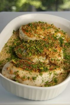 Lemon Parsley Chicken with Baked Couscous:    3 chicken breasts  2 cups couscous  2 1/2 cups chicken broth  1 Tablespoon garlic, chopped  1 lemon  2 Tablespoons parsley, chopped  salt  pepper  2 Tablespoons olive oil