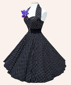 50s Halterneck Polka dot Dress from Vivien of Holloway