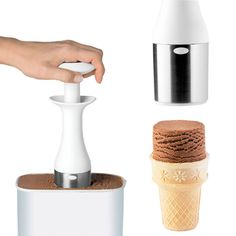 Easier way to scoop and stack your ice cream. I so want this. I hate scooping ice cream.