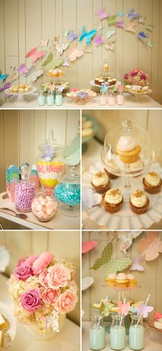 Butterfly garden birthday party dessert table I don't like this but I know a little girl who would