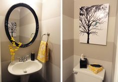 Grey and Yellow Bathroom... + birds of bright colors : ) P.S. those towels are avail. @ Target right now! Love the tree picture - c