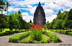Garden in front of the Prambanan Temple at Yogyakarta, Indonesia      amazing!