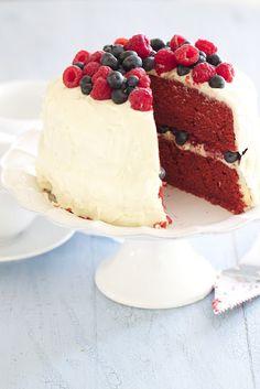 Red Velvet Cake with Raspberries and Blueberries by epicureanmom #Cake #Red_Velvet #epicureanmom