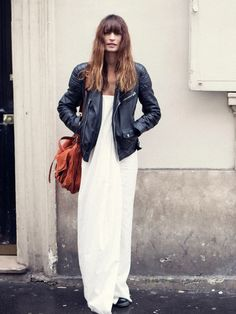 Leather jacket and white maxi