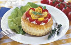 Herbed Goat Cheese Tartlets with Currant Tomatoes. http://www.vegetablegardener.com/item/3633/herbed-goat-cheese-tartlets-with-currant-tomatoes