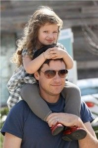 bateman, with daughter frannie on his shoulders.  calm down uterus...