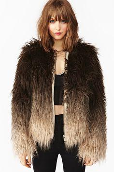 Dip Dye Faux Fur Jacket