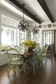 great dining area - cool lights..... http://www.paintedhomedesigns.com/