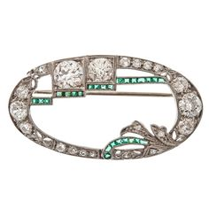 Art Deco Diamond & Emerald Platinum Brooch    1925
