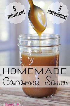 {5-Minute, 5-Ingredient} Homemade Caramel Sauce ~ delicious over ice cream, brownies, pound cake, apple pie, etc; a jar of this makes a perfect gift! | FiveHeartHome.com