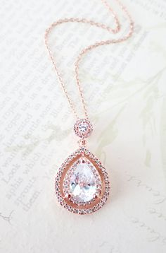 Rose Gold Deluxe Cubic Zirconia Teardrop necklace
